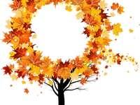 podzimní kulatý strom - podzimní jednoduchý strom pro děti