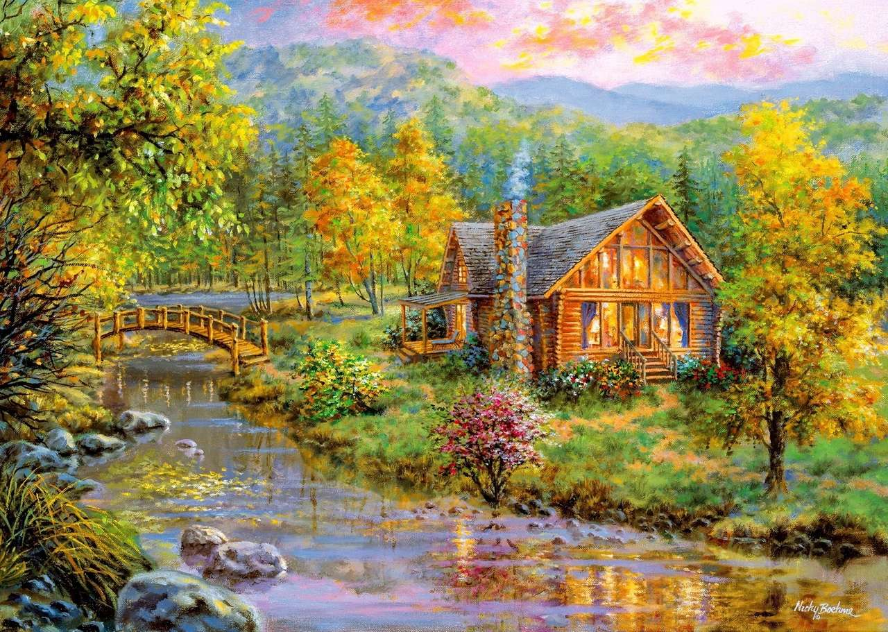A small wooden house by the bridge - Human thought knows no obstacles or barriers. From the heart and honestly at a distance sent. He will find an addressee in the crowd everywhere. No matter when and where. will be picked up (15×11)