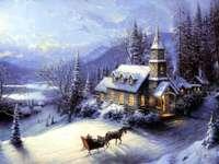 Vinterlandskap med en hästdragen vagn
