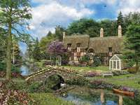thatched house in the woods - m .....................