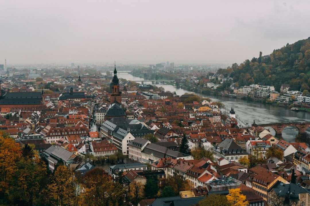 edificio marrón y blanco - Paisaje urbano. Heidelberg, alemania (6×4)