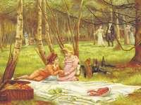férfi és nő ül a virág festmény ágyon