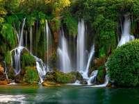 view - Nature, waterfall, water, green
