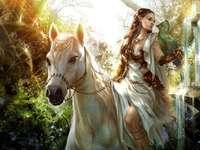 menina a cavalo - natureza menina cavalo branco