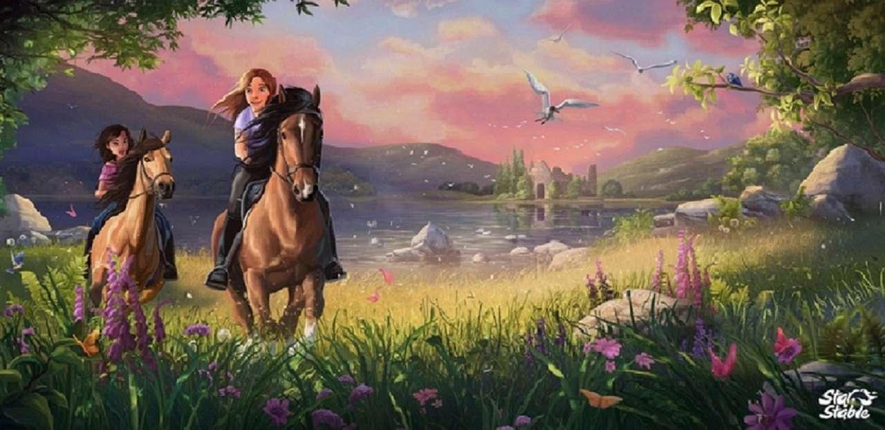 момичета на коне - небе, природа галопиращи коне (12×6)