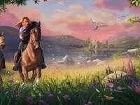 garotas a cavalo - céu, cavalos galopando da natureza