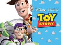 Spielzeuggeschichte - Zwei Freunde aus einem Film, die lachen und hinausschauen