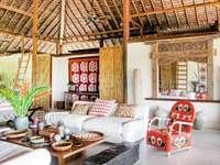 Τροπικό δωμάτιο - Σαλόνι με τροπική διακόσμηση