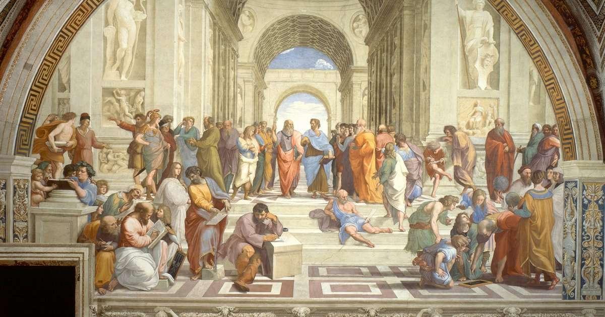Escuela de Atenas - Escuela de atenas de los principales filosofos griegos (11×6)