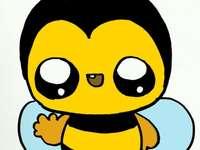 heureuse petite abeille aime et mange des fleurs