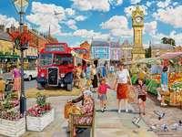Stadtleben - Stadt, Menschen, Bus, Straße, Markt