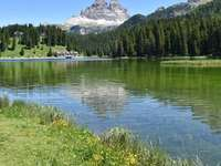 copaci verzi lângă lac și munte sub cerul albastru - copaci verzi lângă lac și munte sub cer albastru în timpul zilei. Reflecție montană Dolomite.