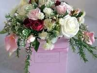 a bouquet in a box