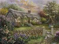 Schilderij huisje op het platteland