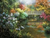 Езерце за рисуване с мост