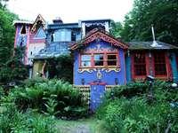 Kolorowy dom przy lesie