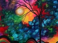 Gemälde Bäume Mond