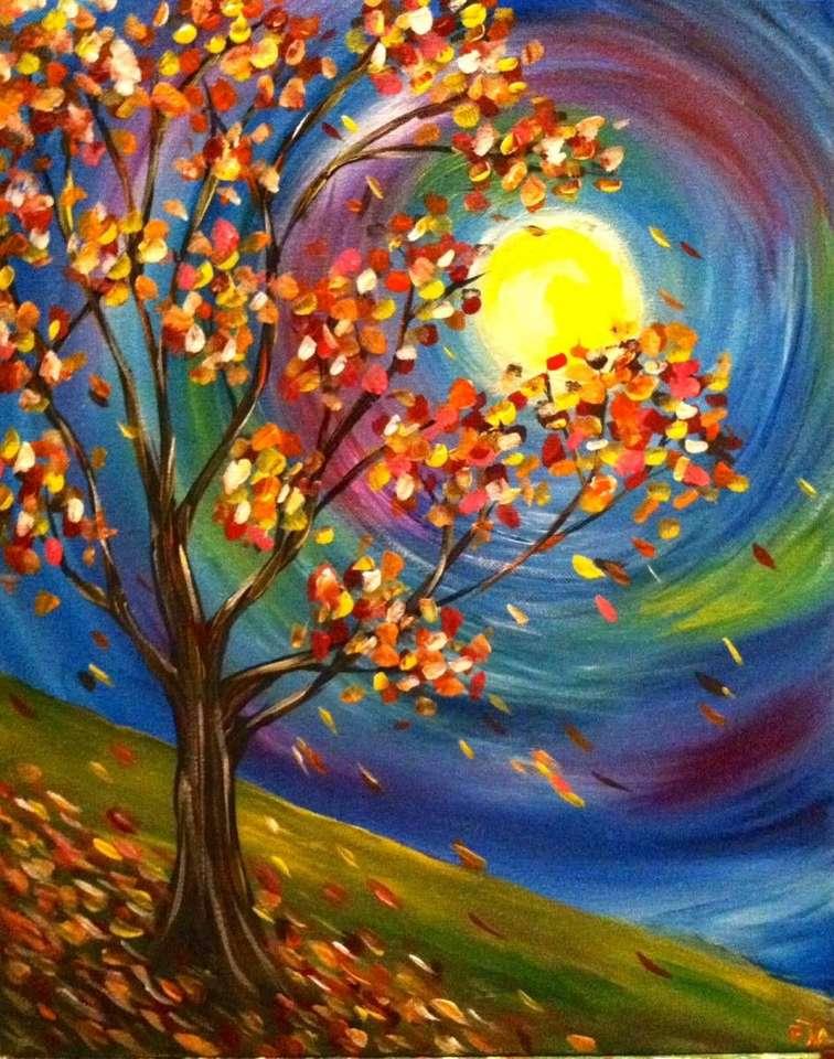 Рисуване на дърво през есенна луна (8×11)