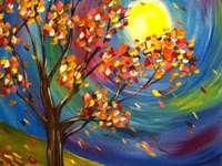 Рисуване на дърво през есенна луна