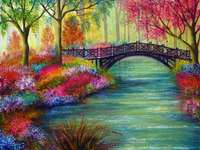 Painting park landscape with river and bridge