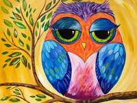 Drawing colorful owl on branch - Drawing colorful owl on branch