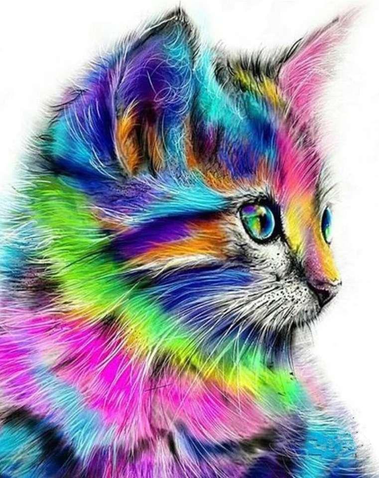 Színes macska festés (8×11)