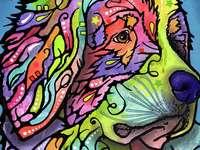 Painting colorful dog - Painting colorful dog