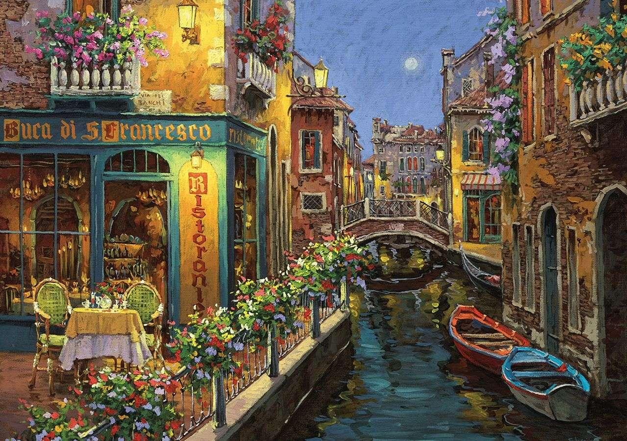 canale con le barche in città - m (12×9)