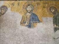jezus chrystus w malowaniu krzyża - Hagia Sophia z Turcji. Stambuł, Turcja