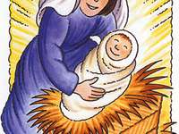 Jesus is born - Jesus is born in the middle of the night. Maria lays the baby in a manger on hay and straw. God beco