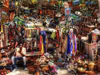 Stalls with colorful trinkets