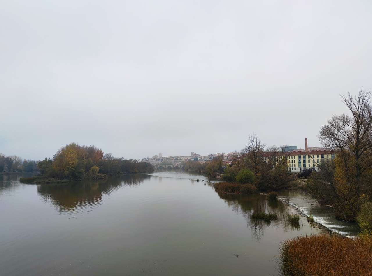 Duero-rivier terwijl deze door Zamora stroomt (14×11)