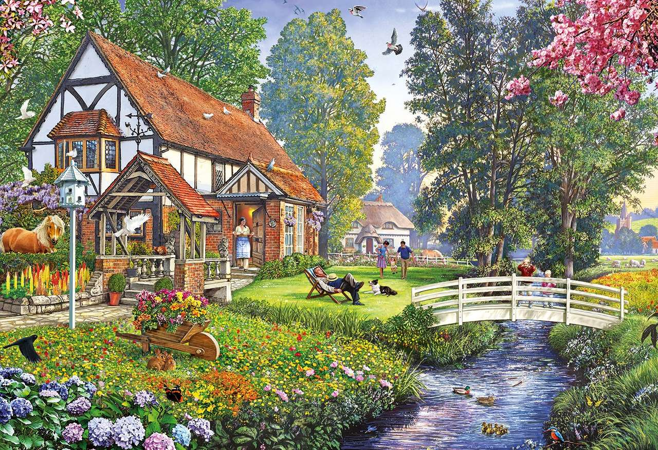 A sunny spring day - Country, house, people, animals, nature (13×9)