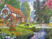Um dia ensolarado de primavera - Country, house, people, animals, nature