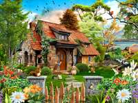 sweet home - House, flowers, trees, animals, gate