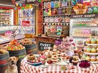 Candy Shop - Süßigkeiten, Geschäft, Hund, Tisch, Geschirr
