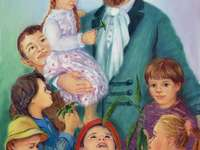 E. Bojanowski and children - Edmund Bojanowski - the patron of the school