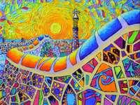 Peinture Barcelone ville de Gaudi