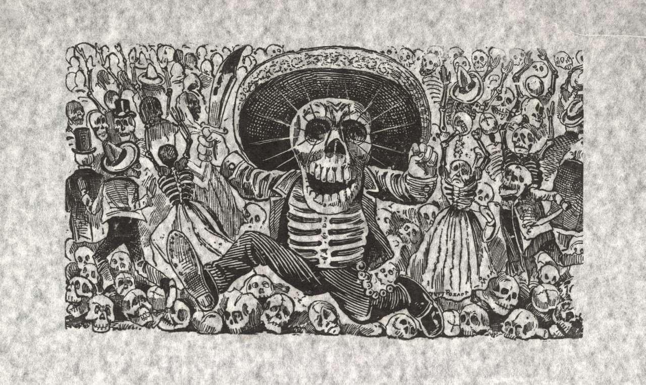 Mexikansk gravyr - Mexikansk gravyrskapare av La Catrina (6×4)