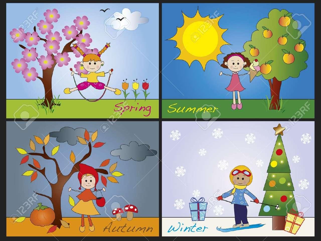 De fyra årstiderna - fyra årstider, vår, sommar, höst och vinter (9×7)