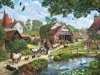 с овце през селото