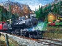 vonat a hegyekben