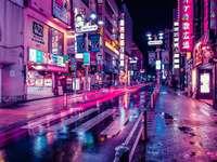 chinesische Landschaft - ein Nachtstadtbild in China