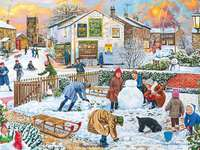 Winter fun - Children, dog, snowball game, houses