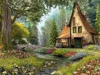 vecchia casa nel bosco in riva al fiume - m ....................