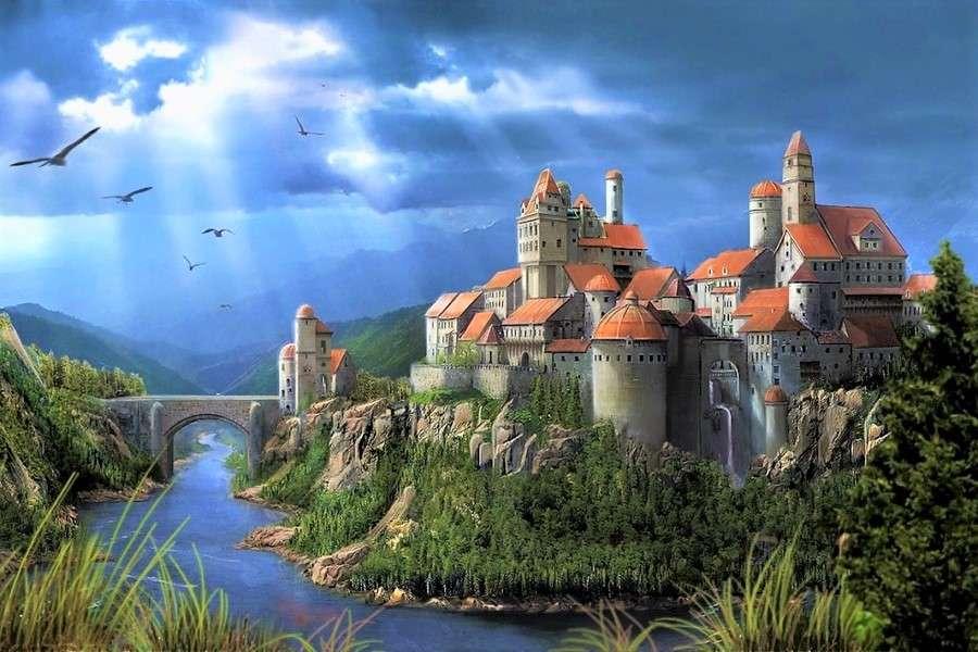 Schloss am Fluss - Schloss und Brücke über den Fluss in den Bergen (13×9)