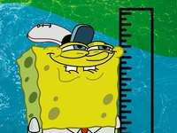 sponge Bob - We can see Bob who is measuring his height with a little cheat