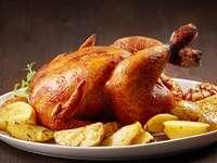 Bratenhühner - Bratenhühnchen mit Kartoffeln