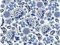 modrobílý vzorek květin - modrobílý vzorek květin