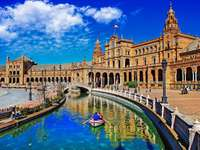 Seville Plaza de Espana with bridge